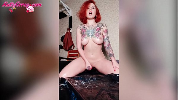 Redhead Girl Passionate Food Play - Jerk Off Tight Pussy - Katty Grray