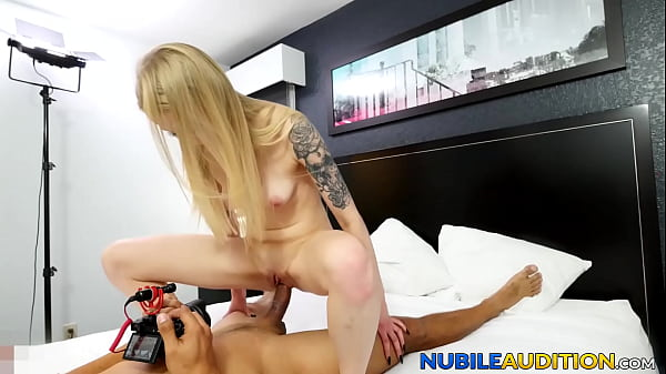 Pretty babe rides huge cock and eats cum at sex casting