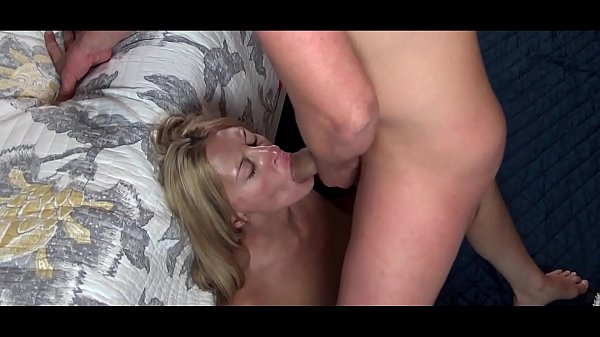 Blonde MILF Kayla sucking cock and getting a load