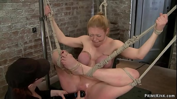 Bound huge boobs MILF whipped