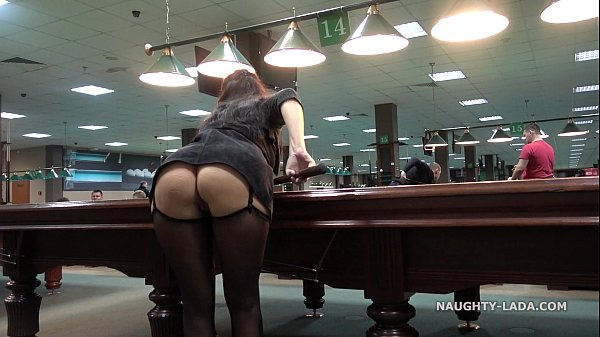 Public flash upskirt in the billiard club Thumb