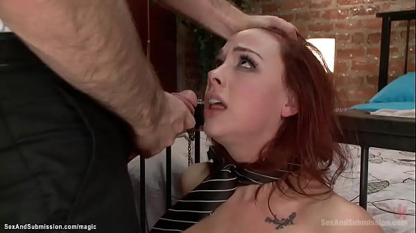 Tied ginger hottie mouth and ass banged