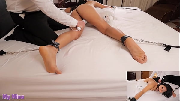 Little slut gets tied up and gagged then made to cum again and again with magic wand, screaming orgasms   My Nina