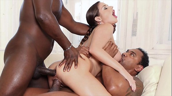 Interracial gangbang milf getting her holes dri...
