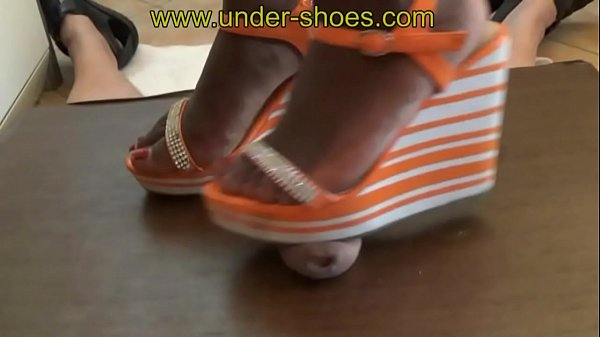Our b. Ebony Goddess Miss Asera extreme wedge sandals trample & CBT