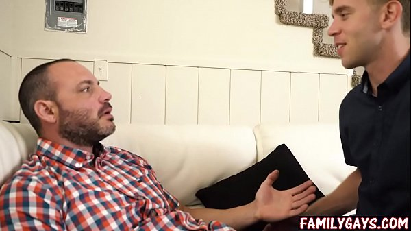 Gay son fucks dad while mom is out