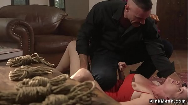 Busty babe is whipped by debt collector