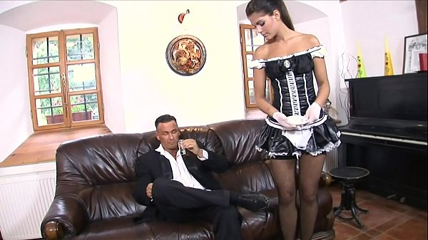 Massive dick dude fucks the mouth, asshole and cunt on sexy maid Defrancesca Gallardo Thumb
