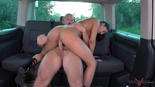 Horny Stud Has Prompted Leggy Barbie to Ride his Cock on the Van Backseat