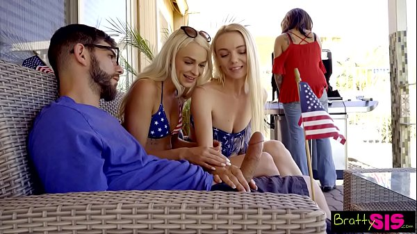 BFFs Sneak Fuck Sleepy Stepbro At July 4th Fami...