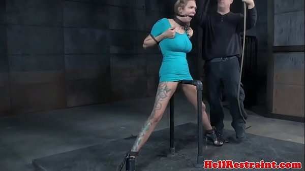 Bound slave caned after water punishment Thumb
