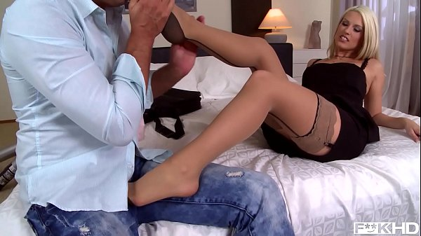 Hot Blanche Bradburry rides his shaft & rubs her feet against his hard dick