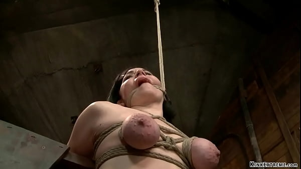 Bound over wooden horse slave spanked