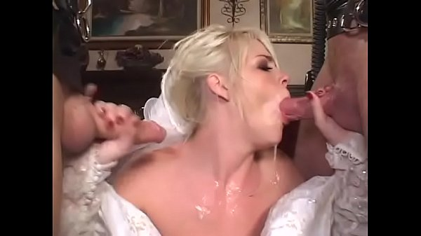 Cheating blonde bride decided to be double penetrated before wedding by two uknown guys weared gas masks and latex Thumb