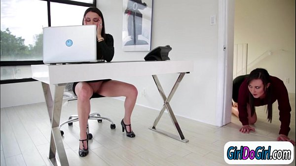 Georgia Jones is licked at the office by collea...