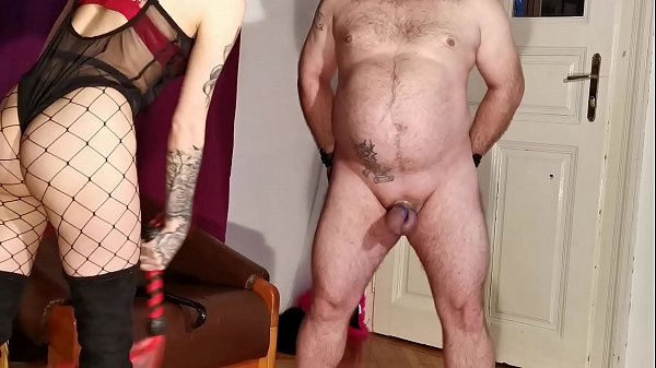 Cock slapping-whipping-spanking by sexy goth domina pt2 HD Thumb