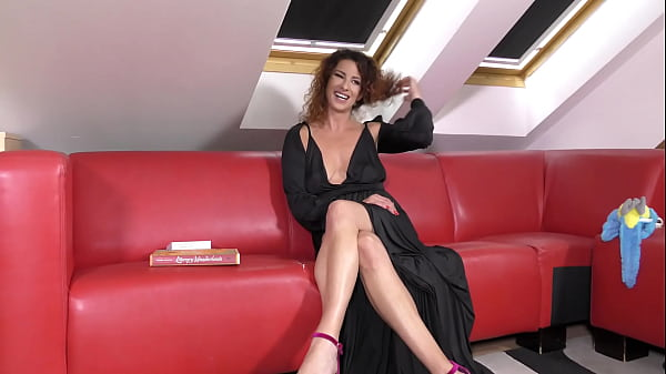 Tight Pussy Hot MILF without bra and no panties reads about Elon Musk, in a night dress showing her sexy legs and high heels Thumb