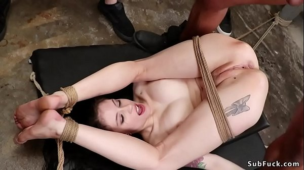 Interracial group db fucking of tied sub