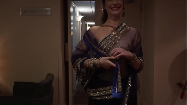 Indian Actress dare to walk naked in hotel with see through saree and guest see her Thumb