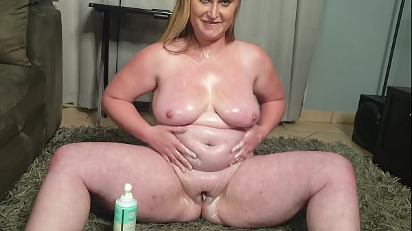 Fat big titted blonde having some whipped cream...