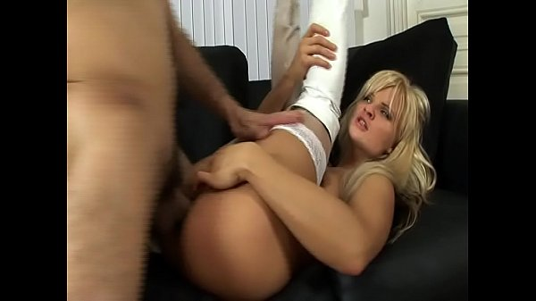 Blonde in white stockings and boots gets fucked legs in the air