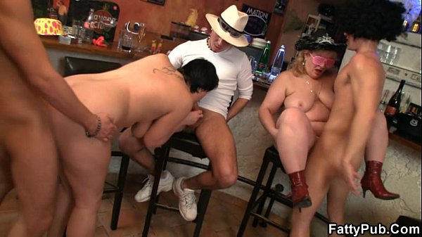 Three guys bang them in the bar