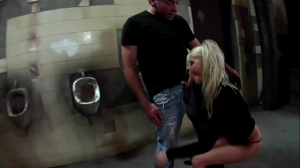 Public Threesome German Petite Nasty Blonde Fucked In A Public Toilet Threesome