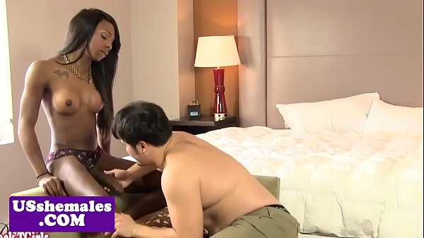 Alluring black shemale fucks guy in the ass after sucking
