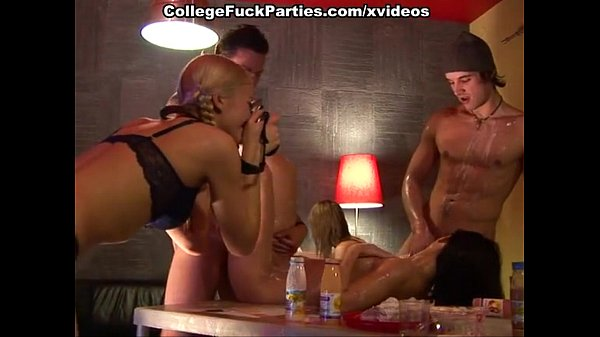 College orgy with girl poured with l. and group...