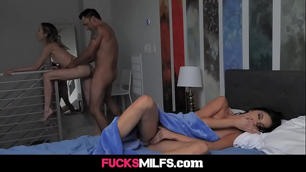 Horny MILF stepmom Aiden Ashley fucks her stepdaughter's boyfriend and invites her to eat that young and hard cock - FULL SCENE on http://FucksMILFs.com Thumb