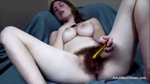 Hairy redhead orgasms with golden vibrator - AdultWebShows.com