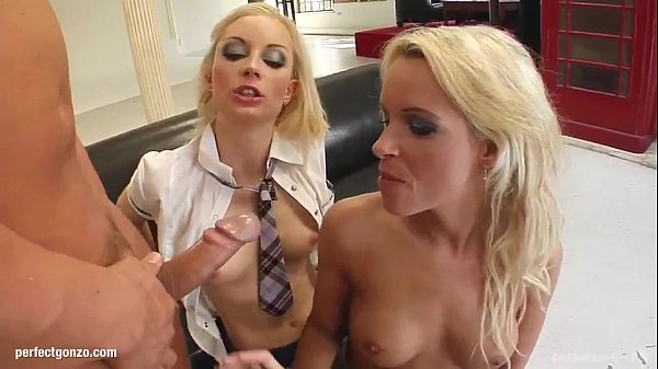 Sophie Logan and Jayla milking a guy in hardcore threesome scene for messy cum t