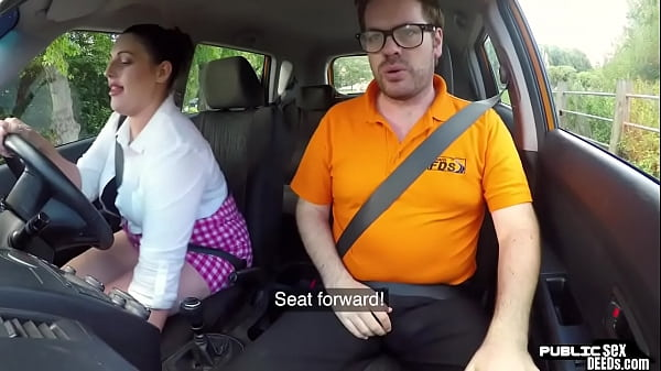 Chubby english driving student fucks in public Thumb