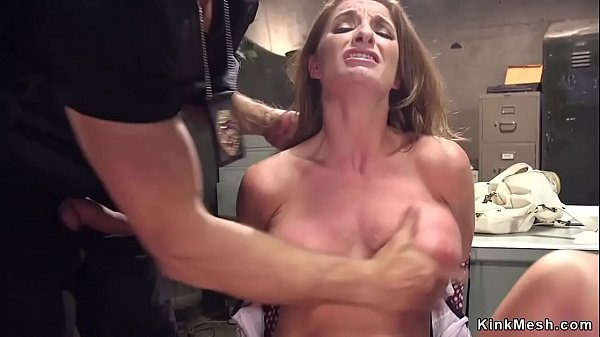 Brunette is tied and anal fucked in cell