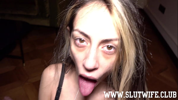 Skinny blonde slut Candie Cross goes on her knees for a quick blowjob