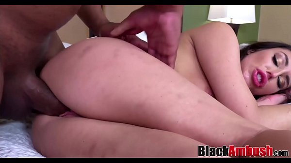 Stunning brunette Chloe ambushed by big black c...