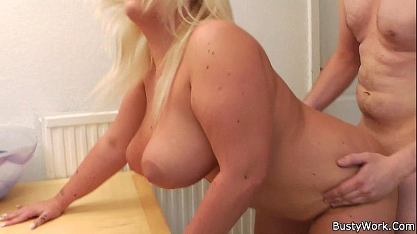 Boss fucks chubby blonde for cash