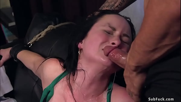 Brunette in bondage fucked and cummed