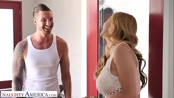 Naughty America Brenda Phillips (Sarah Vandella) give the AC guy a blow Thumb
