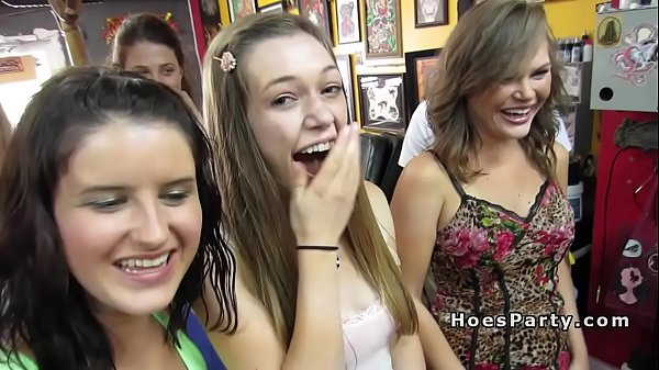 Group of nasty babes parting in tattoo shop Thumb