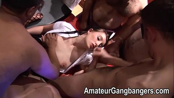 Teens first gangbang with MILF and older men