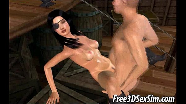 Foxy 3D babe getting double teamed by some pirates