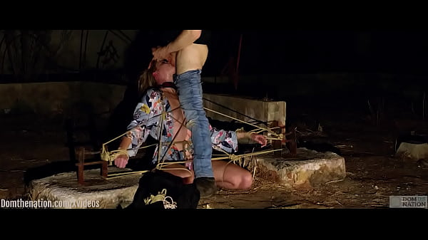 Face fucking and ass eating for tied-up submissive Ashley Lane outside in the California night Thumb
