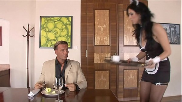 Hung white guy gets his cock deep throated by Spanish maid Bijou then fucks her