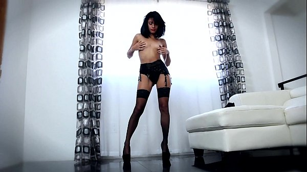 Cindy fucked in black stockings and high heels