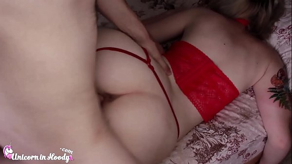 Cute Teen Hard Rough Sex in Red Lingerie and Cu...