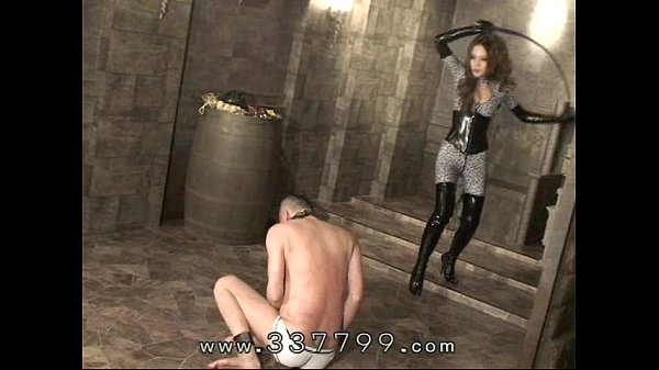 Japanese femdom Kira hits body of slaves with a...