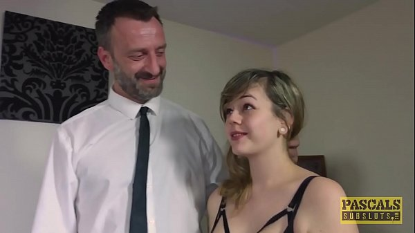 Submissive English slut dommed and fed with mas...