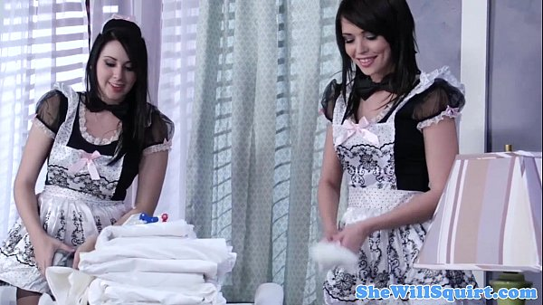 Squirting blackhaired maids sharing a cock