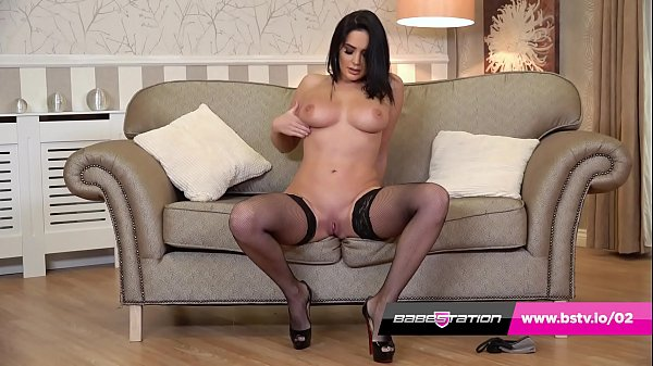 Busty British brunette Emma Green in sexy stockings Thumb